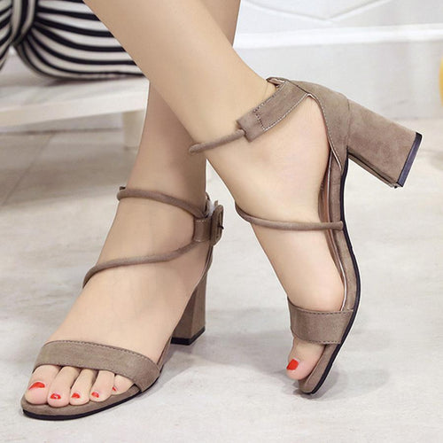 Plain  Chunky  High Heeled  Velvet  Ankle Strap  Peep Toe  Date Office Sandals