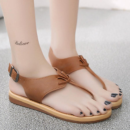 Plain  Flat  T Strap  Peep Toe  Beach Casual Sandals