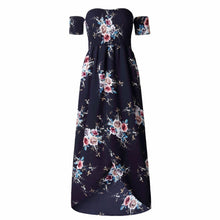 Load image into Gallery viewer, Vintage Boho Style Off Shoulder Floral Print  Maxi Vacation Dress