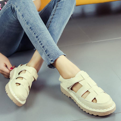 Plain  Flat  Ankle Strap  Round Toe  Casual Sandals