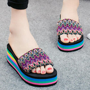 Bohemian  High Heeled  Peep Toe  Beach Casual Slippers