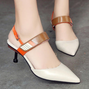 Color Block  Stiletto  High Heeled  Point Toe  Date Office Pumps