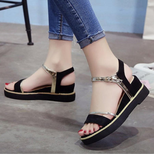 Color Block  High Heeled  Velvet  Ankle Strap  Peep Toe  Date Office Wedge Sandals
