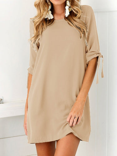Round Neck  Plain Casual Dress