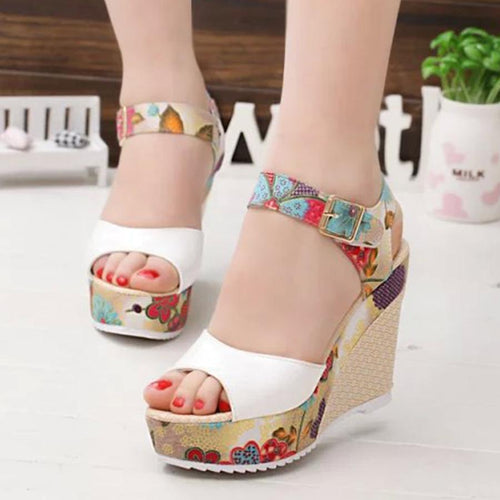 Color Block Floral  High Heeled  Ankle Strap  Peep Toe  Casual Date Wedge Sandals