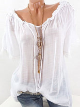 Load image into Gallery viewer, Spring Summer  Polyester  Women  Open Shoulder  Decorative Lace  Plain  Short Sleeve Blouses