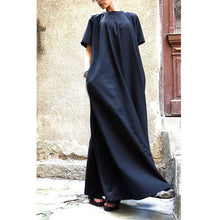 Load image into Gallery viewer, Round Neck Pocket Plain Maxi Dress