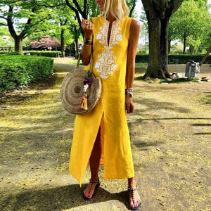 Vintage Yellow Cotton/Line Long Sleeve Casual V-Neck Maxi Dress