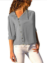 Load image into Gallery viewer, Button Irregular Diagonal Collar Long Sleeve Blouses