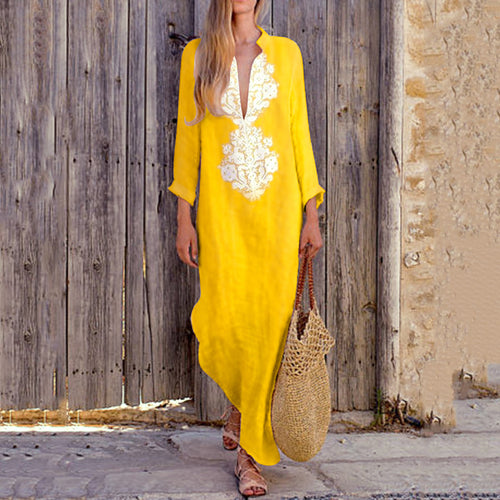 Boho Women Vintage Cotton/Line Casual V-Neck Yellow Maxi Long Dresses