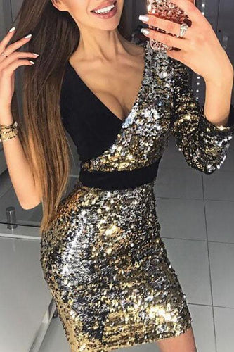 Deep V Sequined Fashion Bodycon Dress