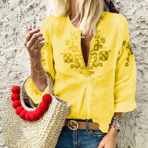 V Neck Printed Ruffles Casual Blouse
