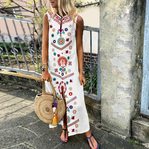 Cotton/Line Casual V-Neck Vintage Printed Boho Casual Dresses
