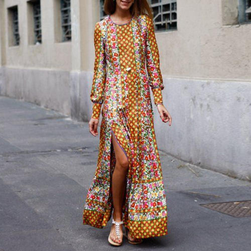 Fashionable Vintage Printed Autumn Yellow Maxi Dresses