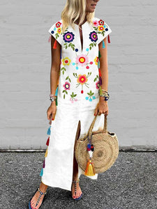 Vintage Printed Fringed White Dress