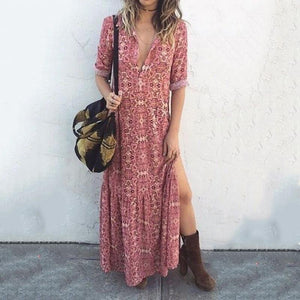 Vintage Sexy V Neck Floral Printed Side Split Vacation Maxi Dress