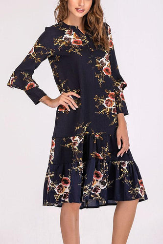 Fashion Floral Print V-Neck Casual Dress
