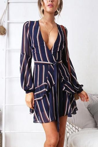 Fashion Floral Print Long Sleeve Casual Dress