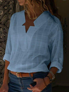 Sexy V Neck Pure Color Cotton Blouses Long Sleeve Shirt Tops Summer