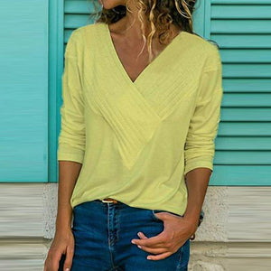 Brief V Neck Long Sleeve Plain Casual T-Shirts Blouse Loose Tops