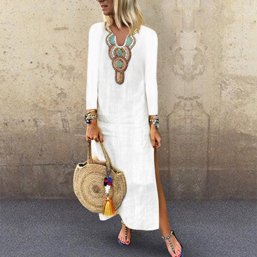 Bohemian Vintage V Neck Long Sleeve Printed Split Casual Maxi Dress