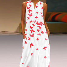 Load image into Gallery viewer, Chinese Butterfly Printed Maxi Shift Dress