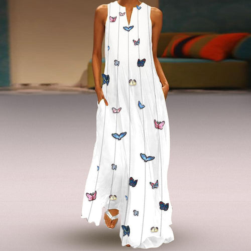 Vintage Round Collar Butterfly Printed Maxi Shift Dress