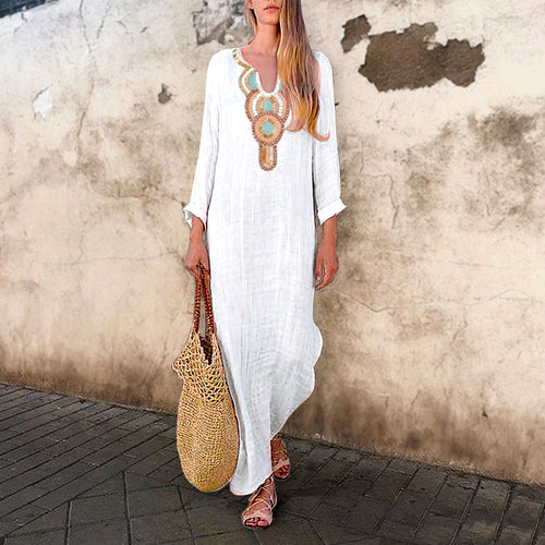 Sexy V-Neck Vintage Fashion Print Causal White Maxi Dress