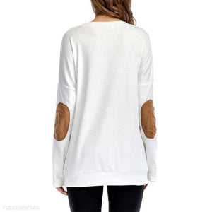 Round Neck Printed Suede Patchwork Long Sleeve T-Shirts