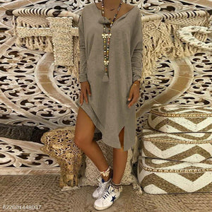 V Neck Long Sleeve Plain Split Casual Dress