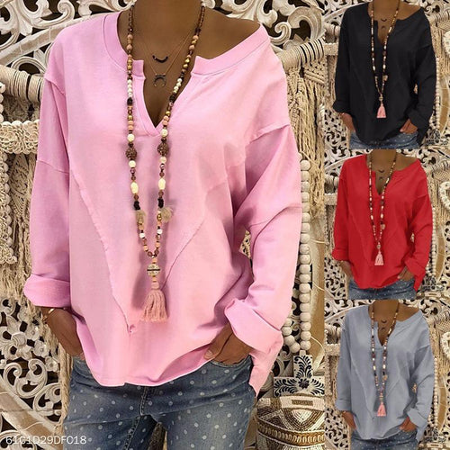 V Neck Long Batwing Sleeve Plain Patchwork T-Shirts