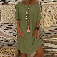 Load image into Gallery viewer, Round Neck Half Sleeve Plain Casual Dress