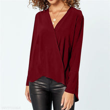 Load image into Gallery viewer, V Neck Chiffon Long Sleeve Plain Casual Blouses