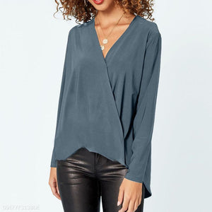 V Neck Chiffon Long Sleeve Plain Casual Blouses