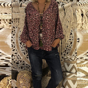 V Neck Floral Printed Lantern Sleeve Blouse