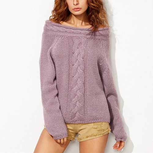 Off Shoulder Long Sleeve Plain Fashion Sweaters