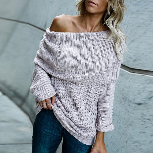 Sexy Off Shoulder Long Sleeve Plain Sweaters