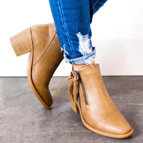 Fashionable Thick And Pointed Ankle Boots