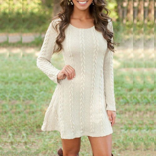 Knit Sweater Round Neck Long Sleeve Dress