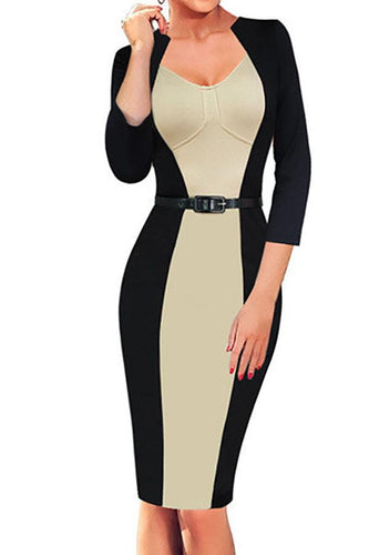 Fashion V-Neck Color Blocking Long Sleeve Bodycon Dress