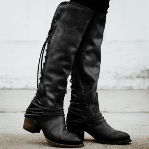 Fringed Straps With Thick Boots