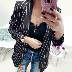 Fashion Stripes Long Sleeve Casual Blazers