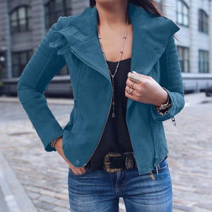 Fashion Lapel Long Sleeve Plain Zipper Jacket