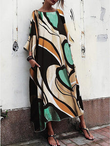 Vintage Cotton Baggy And Fashionable Print Maxi Dress Long Loose Dresses