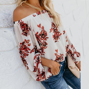 Sexy Off Shoulder Floral Printed Long Lantern Sleeve Blouses