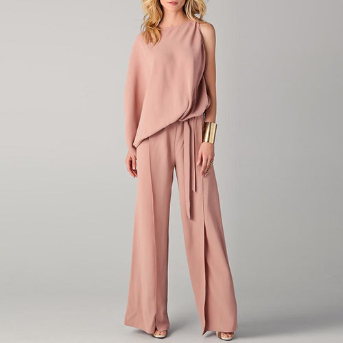 Fashion Round Neck Plain Asymmetrical Belt Bell-Bottoms Jumpsuits