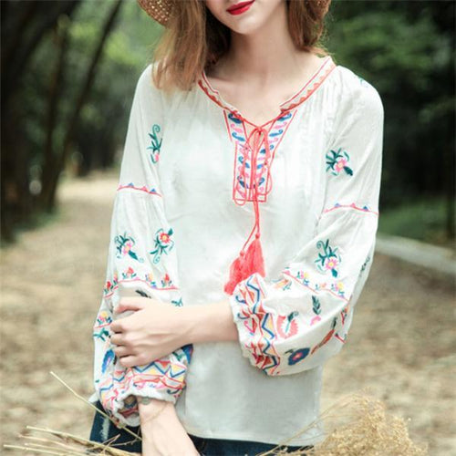 Vacation Linen Casual Loose Embroidery Puff Long Sleeve Lace-Up Bust Blouse
