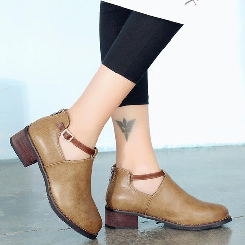 Buckle Square Heel PU Leather Shoes Women Martin Boots