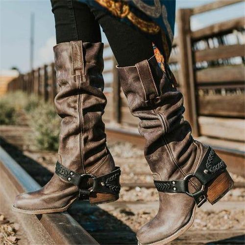 Stylish Leather Thermal High Tube Knight Boots