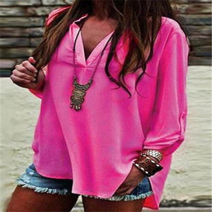 Casual Elegant Fashion Loose V Collar Long Sleeve Blouse